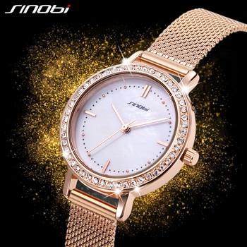 SINOBI New Women Luxury Brand Watch Simple Quartz Lady Waterproof Wristwatch Female Fashion Casual Watches Clock reloj mujer