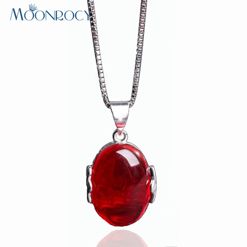 MOONROCY Silver Color Vintage Hollow Red Green Opal Necklace Choker for Women Girls Gift Jewelry Wholesale Vintage Drop Shipping
