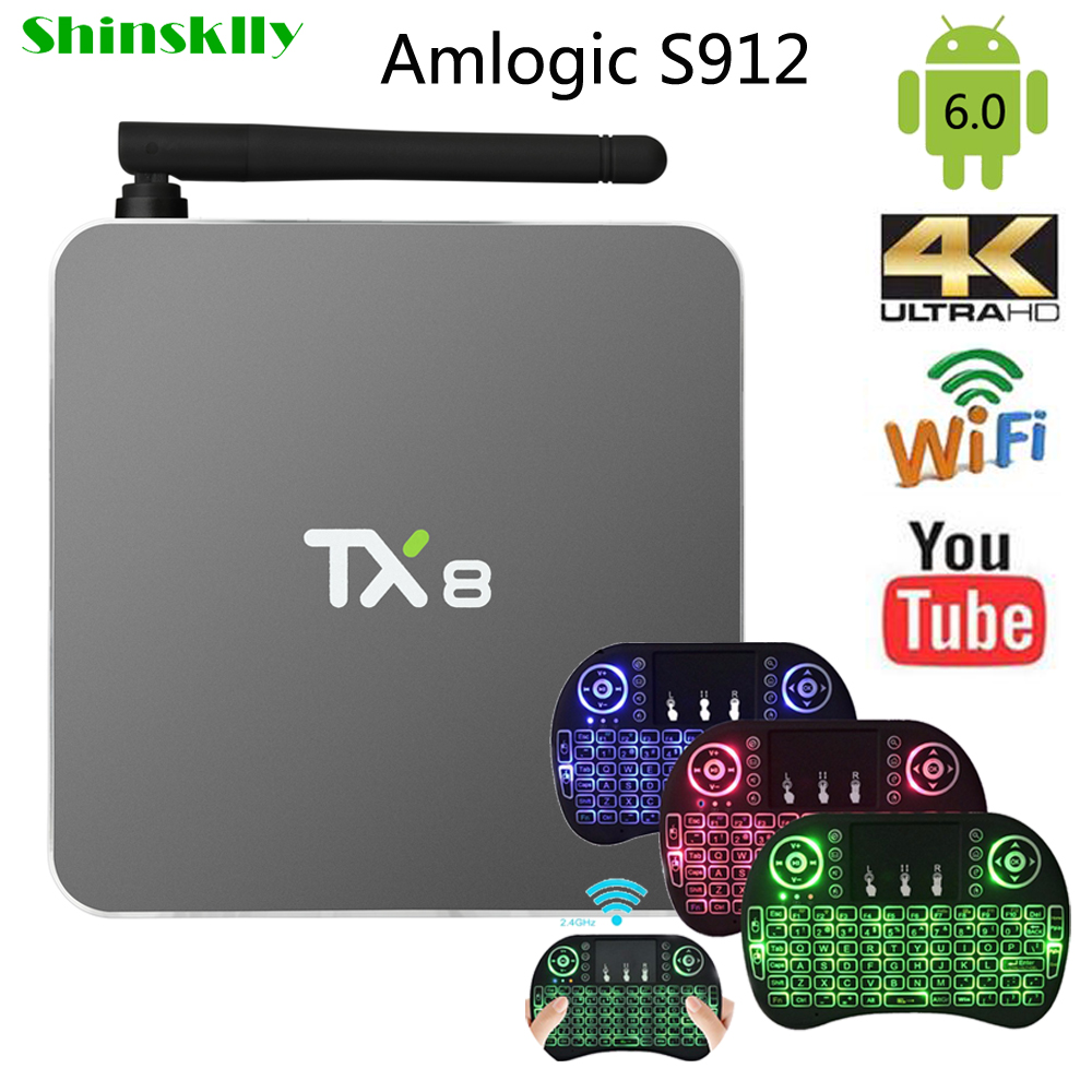 Shinsklly TX8 TV BOX Android 6.0 Amlogic S912 Octa core RAM 2G 32G Smart TV Box HDMI H.265 5.8G WIFI Media Player set top box