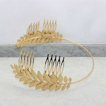 Womens DG Baroque Crown Golden Tone Metal Leaf Hair Cuff Chain Comb Headband Hair Band Headdress Wedding Hair Accessories
