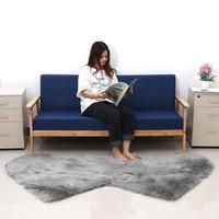 Double Heart Shape Large Fur Mat for Home Bedroom Living Room Decor Super Shaggy Carpet Mat Soft Faux Wool Rugs 80x190cm