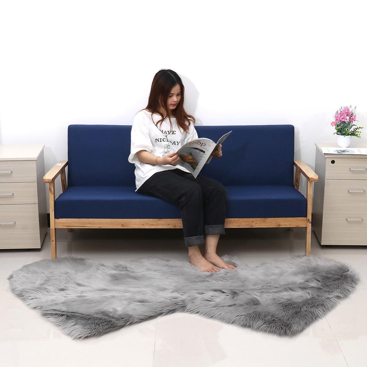 Double coeur forme grand tapis de fourrure pour la maison chambre salon décor Super Shaggy tapis tapis doux Faux laine tapis 80x190 cm