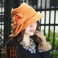 Envío Libre Sombreros de Moda Elegante Nuevas Mujeres Sombreros de La Iglesia de Raso Vestido de Invierno Cálido de Mantenimiento de Sombrero de Lana Arco de Buena Calidad naranja