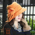 Free Shipping Fashion Hats Elegant New Women Hats Church Satin Dress Winter Warm-Keeping Hat Bow Woolen Good Quality Orange