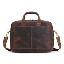 YISHEN Men's Vintage Real Crazy Horse Leather Briefcase Messenger Shoulder Portfolio Laptop Bag Case Retro Handbags MS3901