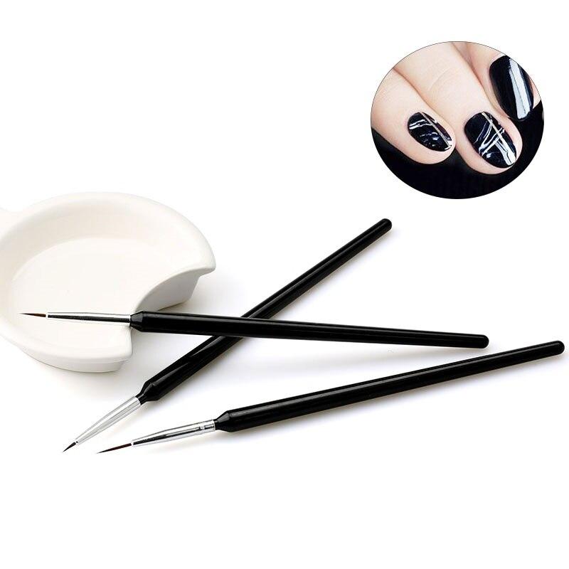 WiRinef Nail Gel Brush 3pcs Manicure Tools UV Nail Gel Varnish Pen Brush Nail Art Design Drawing Painting Pen Set