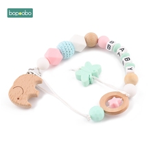 Bopoobo 1pc Wooden Elephant Crochet Beads Clip Non-Toxic Baby Nursing Accessories Sensory Chewing Toy DIY Jewelry Baby Teething