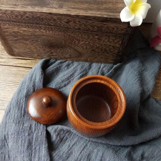Mini théière en bois massif de 8x8.3cm | Rétro, naturel et marchandises, pour le bois de jujube/petit stockage, une petite théière