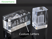 15X10X2cm Custom Artificial crystal Rectangular cube Glass crystal base custom 3D engraving word logo Wedding Gifts Party Decor