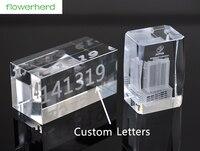 15X10X2cm Custom Artificial crystal Rectangular cube Glass crystal base custom 3D engraving word logo Wedding Gifts Party Decor