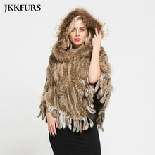 JKKFURS Real Rabbit Knitted Fur Poncho Women's Real Raccoon Fur Collar Natural Fur Hooded Capes Winter Shawls Pocket S7098