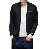 Brand Mens Solid Cardigan Sweater Multi Long Sleeve Casual Knitwear Mid Length Coat Sweaters Thick Autumn