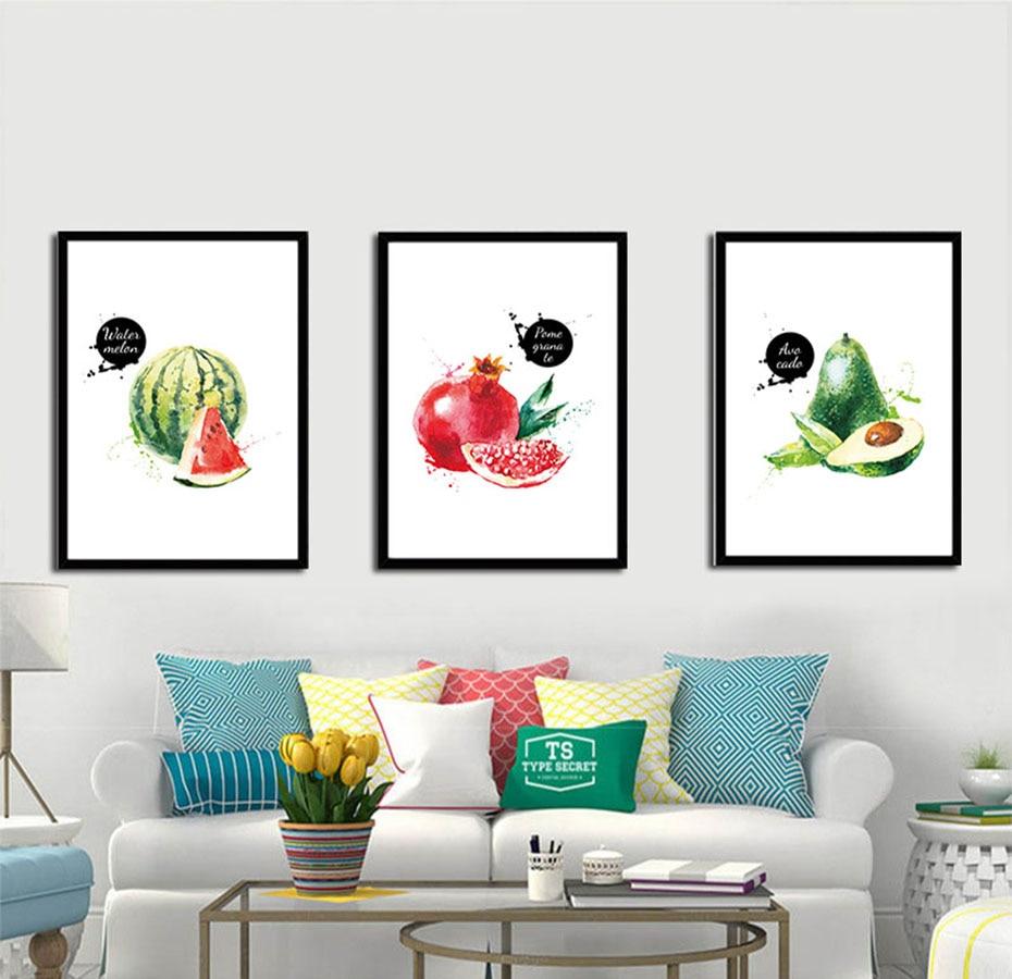 Ananas Avocado Modern Fruits Canvas Painting For Restaurant ...