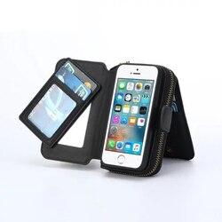 Multi-fonction Zip portefeuille sacs pour téléphone portable pour iPhone 5 6 7 6plus pli 3 en 1 étui rigide magnétique avec cadre Photo porte-carte
