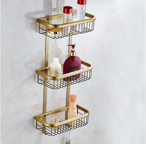 Wall mounted copper bathroom soap dish antique thiple tier bath shower shelf bath shampoo holder for Wall mounted soap dishes for bathrooms