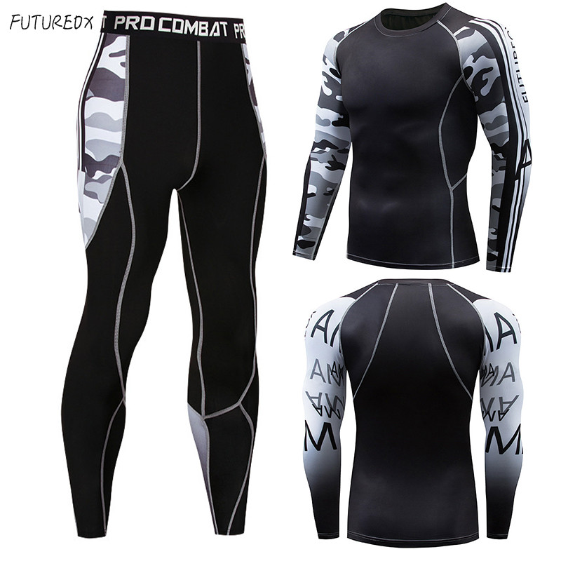 High Quality Camouflage MMA Clothing Compression Shirt Thermal Underwear Men's Fitness Quick-drying Sportswear Suit