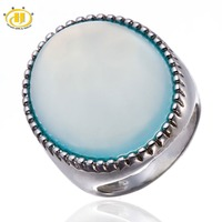 Natural Huge Blue Chalcedony Cabochon Solid 925 Sterling Silver Ring Solitaire Fine Jewelry