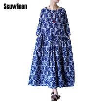 SCUWLINEN Vestidos 2018 National Trend Summer Dress Rosebuds Print Elegant Expansion Bottom Three Quarter Cotton Dresses X01739