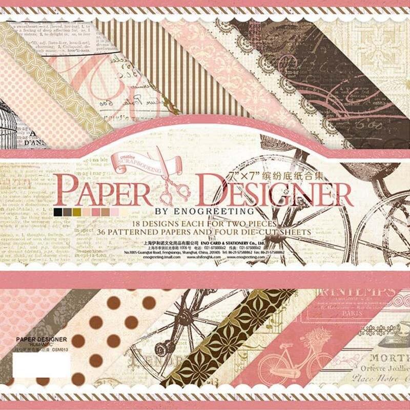 36 papel de patrón impreso + 4 hojas pegatina Diy Vintage fondo decorativo Scrapbooking artesanal papel embellecimiento álbum de fotos