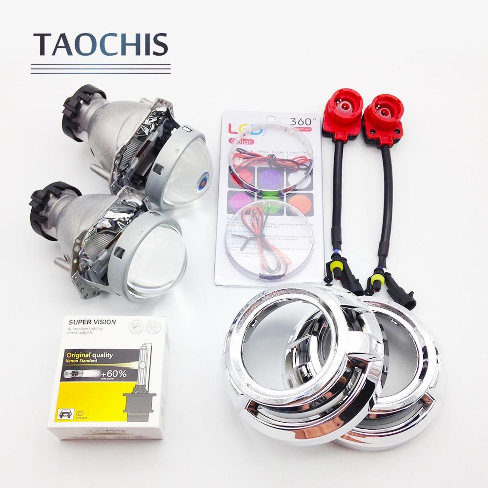 TAOCHIS Hella Projector Lens Kit HID Bi xenon D2S D1S D3S D4S With Shroud Devil Eyes Modify Head Light Lamp Upgrade taochis 3 0 inch bi xenon hella projector lens hid d1s d3s d4s d2s shroud devil angel eyes head lamp upgrade demon eye