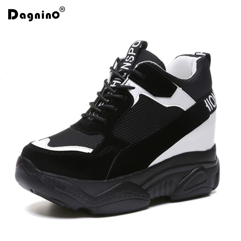 New 2018 Casual Women Shoes Height Increasing 9 CM Ladies Shoes Breathable Leather Platform Shoes Wedge Black Red Shoes Sneakers