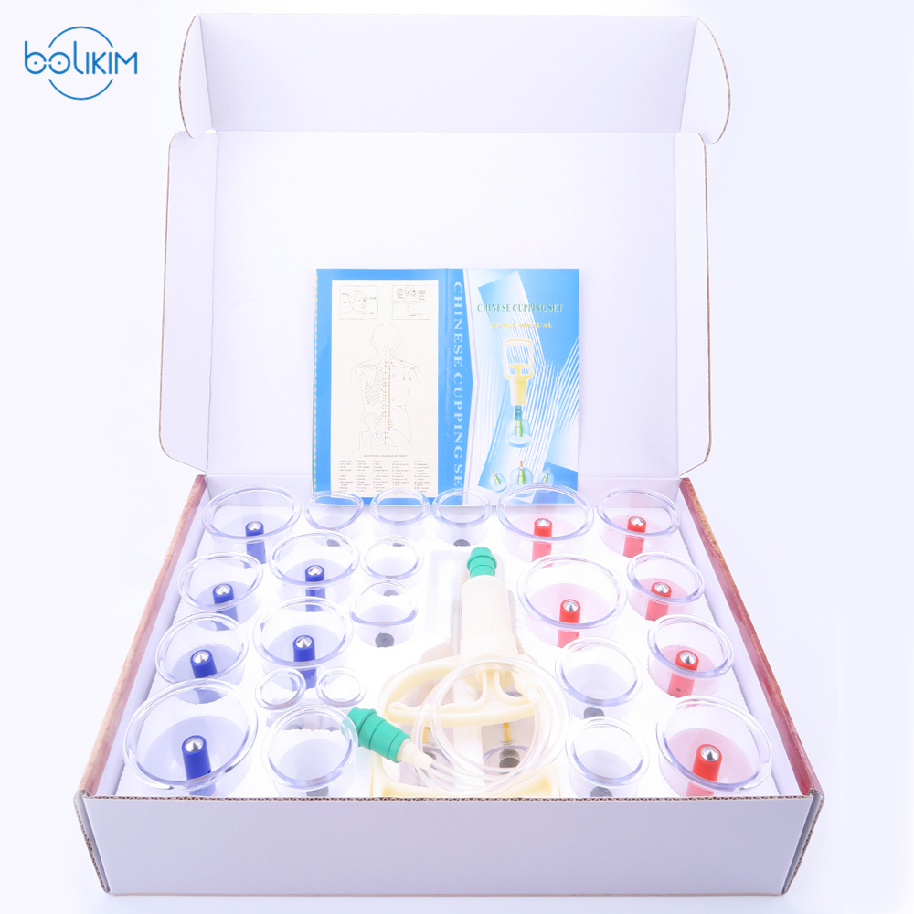 BOLIKIM 28Pcs Massage Cans Cups Chinese Vacuum Cupping Kit Pull Out Vacuum Apparatus Therapy Relax Massagers Curve Suction Pumps