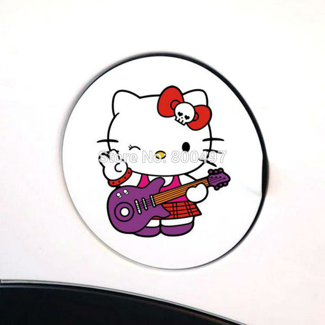 a7c2ce7d1 Lovely Little Hello Kitty with Guitar Car Body Stickers Car Decal for  Toyota Chevrolet Volkswagen Tesla
