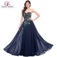 Grace Karin Chiffon Black Purple Blue Apricot Vintage Hand Made Peacock Long Formal Evening Dress Prom