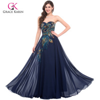 Grace Karin Chiffon Black Purple Blue Apricot Vintage Hand Made Peacock Long Formal Evening Dress Prom