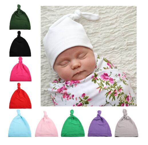 Новый 10 Цвета хлопка завязывают шляпа Детские шапки сна Шляпа Унисекс Обувь для девочек Обувь для мальчиков Шапки для новорожденных Подста...