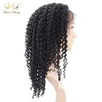 Queenberry Pré Arrancadas Cheia Do Laço Perucas de Cabelo Humano Malaio Virgem Curly Perucas de cabelo Para As Mulheres Com Cabelo Do Bebê da Malásia Encaracolado cabelo