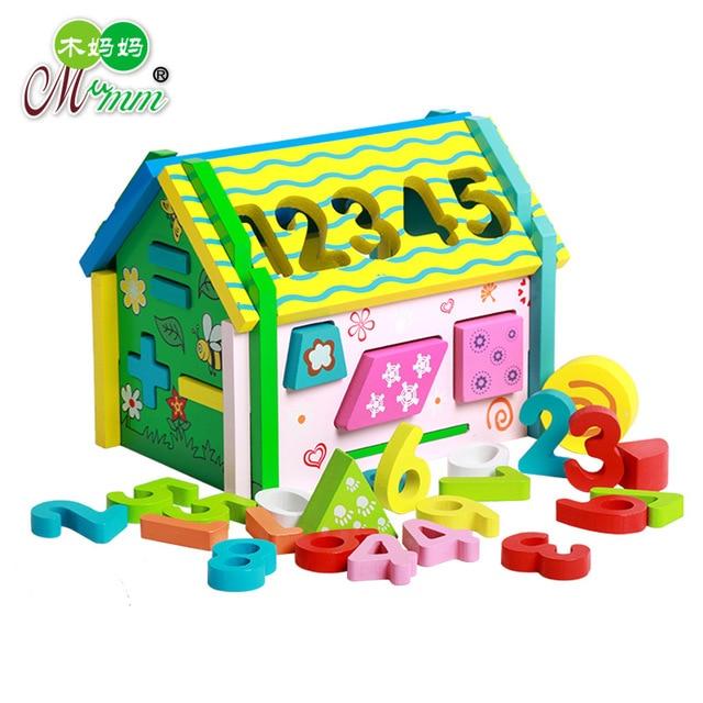 numrique forme maison amovible colonne jeu en bois blocs de construction enfant jouets exquis jouet en - Jeu De Construction De Maison Gratuit