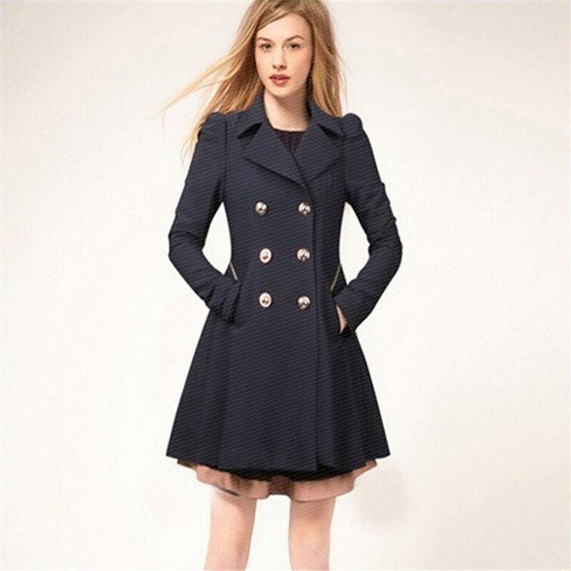 Fashion Princess Womens Slim Cute Coat Long Jacket Parka Thin Windbreaker Jackets and Coats Navy Beige