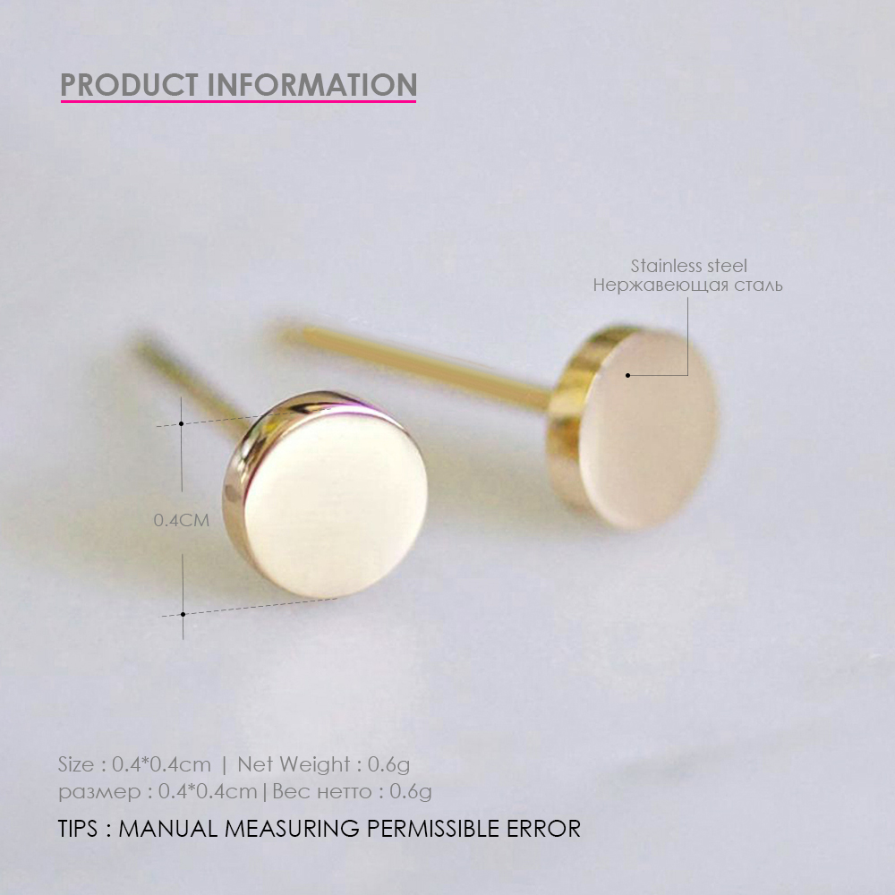 eManco Girls Stainless Steel Stud Earrings for women Office Small Earring Studs Minimalist Jewelry 2019 Wholesale