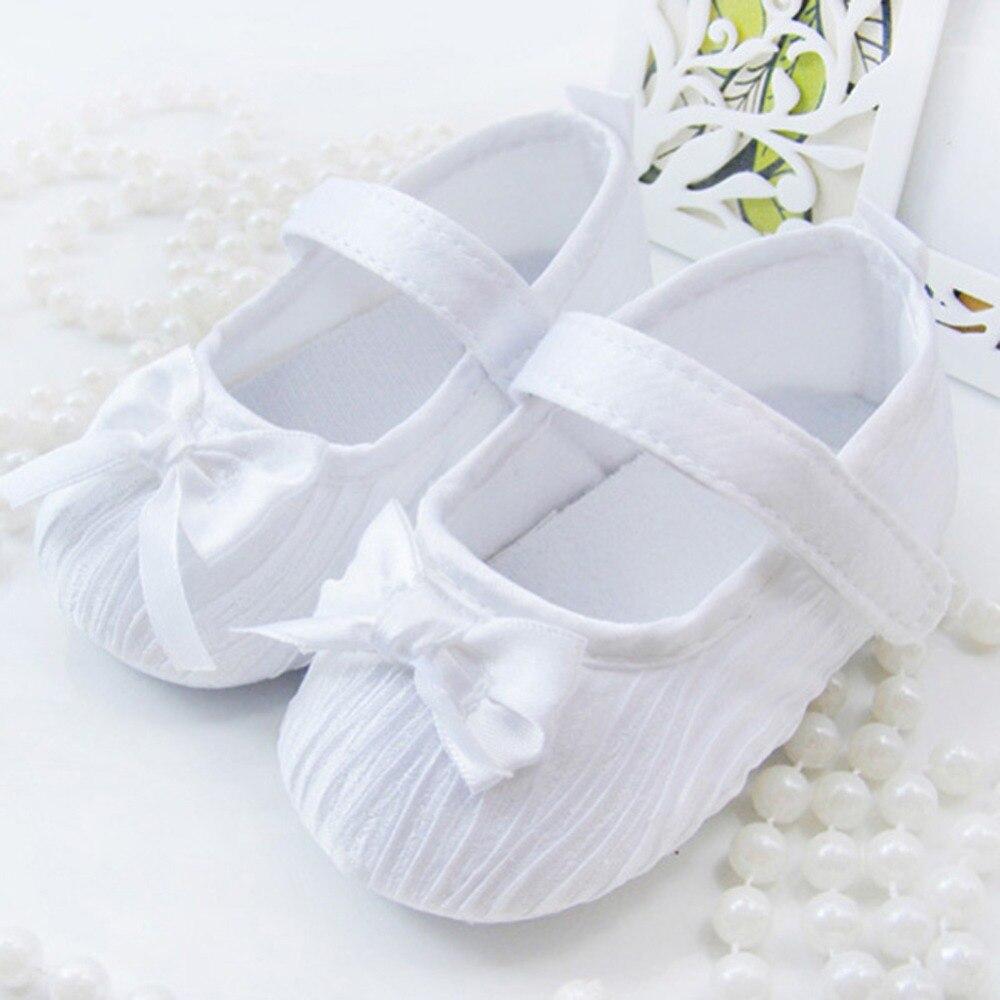 Baby Shoes First Walker Princess Pink White Crib Shoes Infant Toddler Girls Soft Prewalker 0-18M