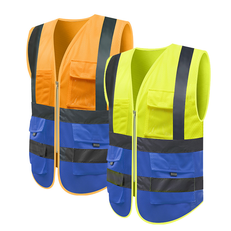 цена на High Visibility Blue Safety Vest Pockets Mesh Reflective Waistcoats with reflective stripes Free Shipping