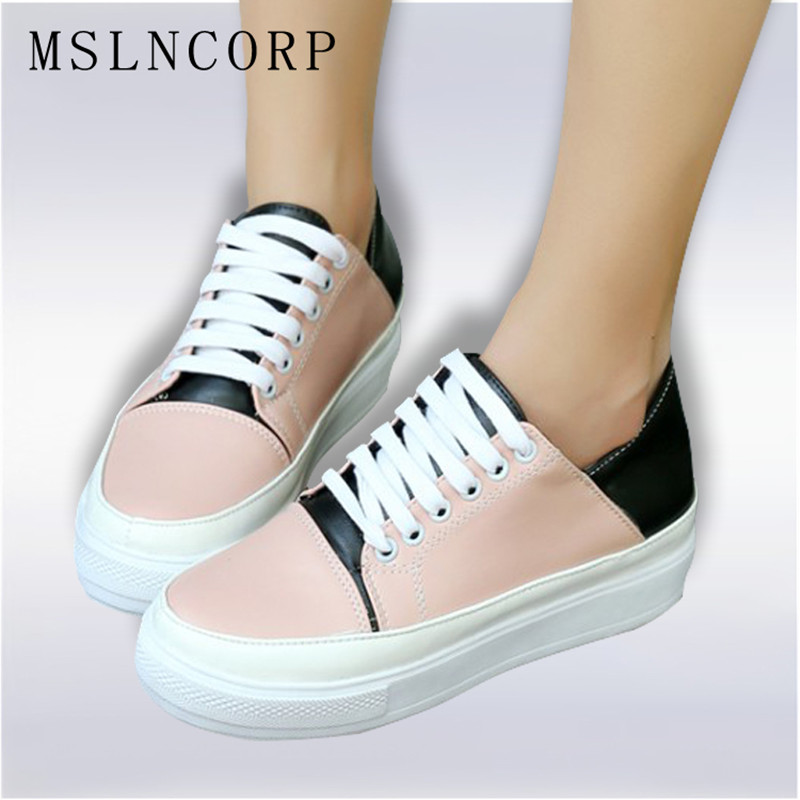 Plus Size 34-44 women shoes new fashion casual platform PU leather classic women casual lace-up Flats shoes sneakers Footwear 2018 new arrivals women flats shoes fashion bling women flats platform loafers lace up women casual shoes black