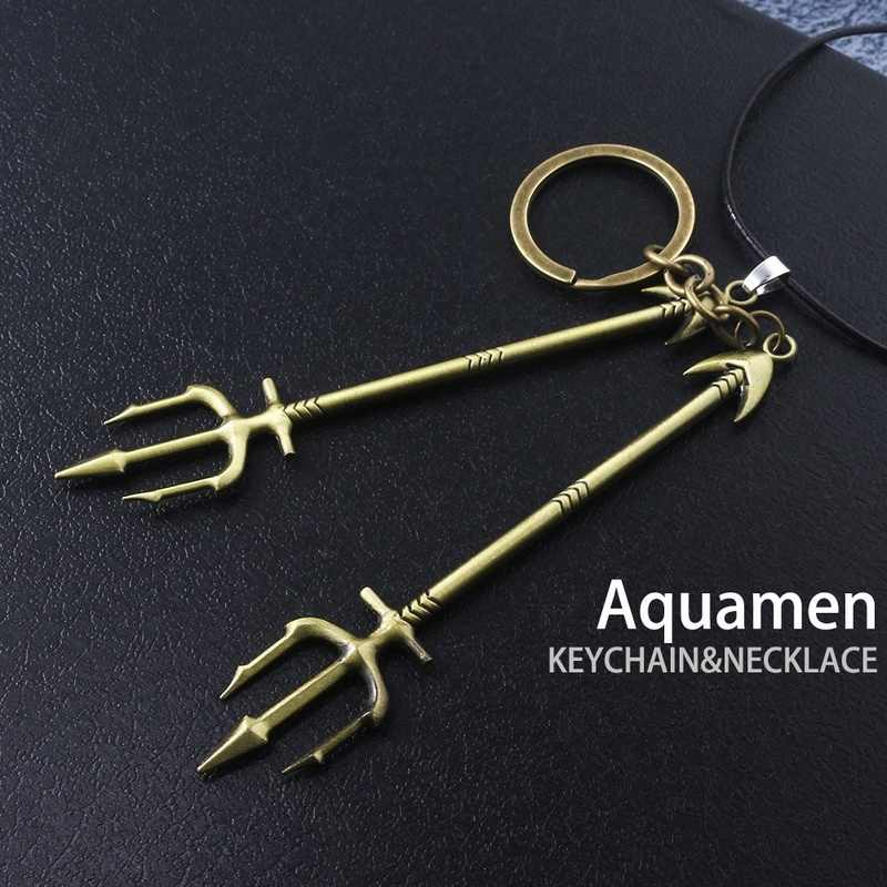 Popular Super-hero Aqua&man Gold Silver Alloy Three-pronged Spear Keychain Leather Rope Necklace