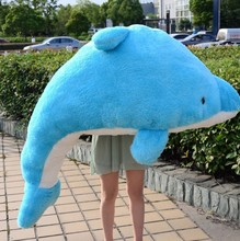 super huge dolphin toy lovely blue big dolphin doll gift about 190cm