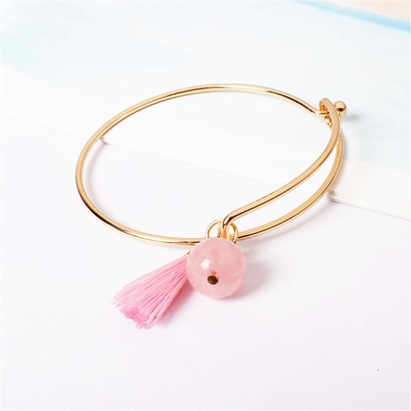 Jewelry factory original series Natural original Shi Zheng pink tassel pendant gold bracelet 28FF