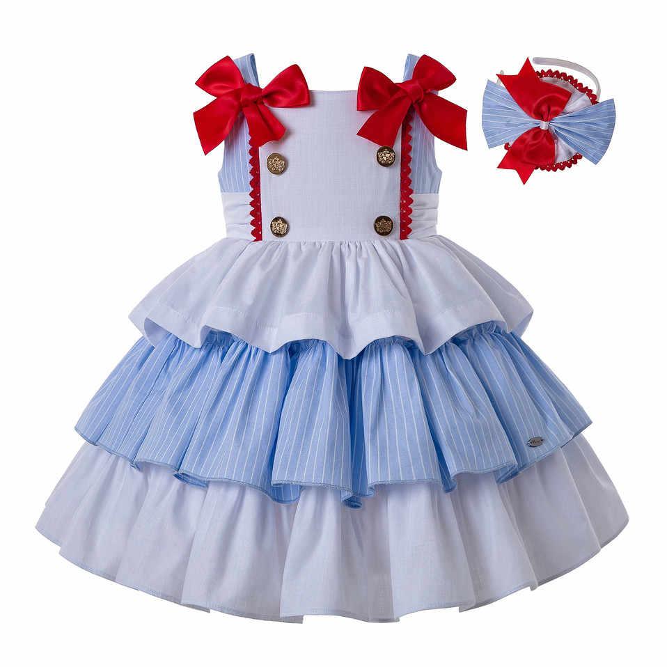 Pettigirl/летние хлопковые платья принцессы для девочек; платье для свадебной вечеринки с головным убором и двойным бантом; детская одежда; G-DMGD201-A279