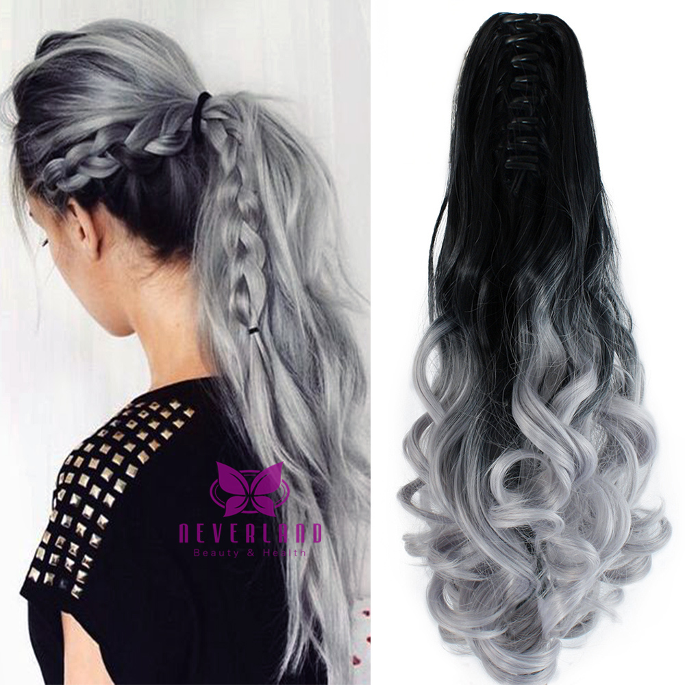 Silver Grey Color 20 50cm Claw Pony Tail Ponytail Clip In Hair