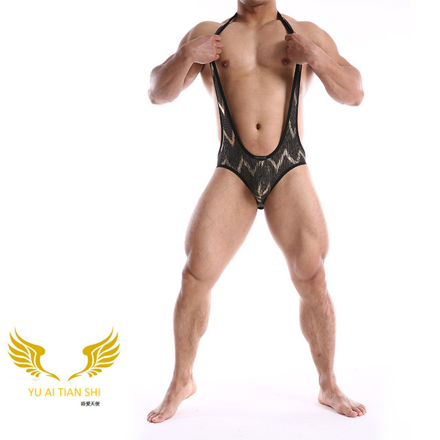 2017 men sexy taste fashion jumpsuits hollow out back leakage chest U GAY sex appeal of pure nylon wrapped in black and gold