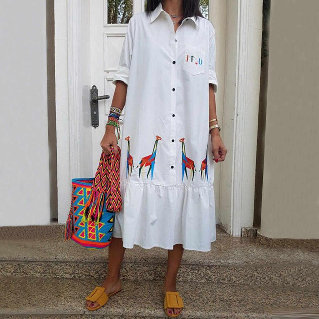 Kadın yaz beyaz elbise standı zürafa baskı orta buzağı düğme parti gevşek yarım elbiseler yaz elbisesi 2019 vestidos de verano yeni