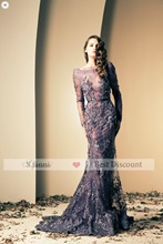 2014 New Arrival Grape Purple Tulle and Lace Sheath Long Sleeve Beaded Luxury Fashion Celebrity Evening Dresses