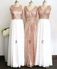 2017 Cheap Elegant Bridesmaid Dress Gliiter Rose Gold Sequins Bridesmaid Dress White Chiffon Long Bridesmaid Dresses