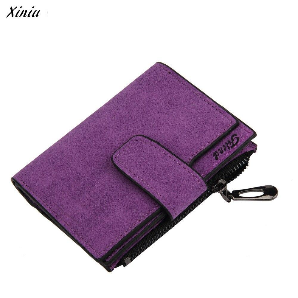 Fashion wallet women Mini Grind Magic Bifold Leather Wallet Card Holder Wallet Purse Zipper Small Short wallet carteira feminin
