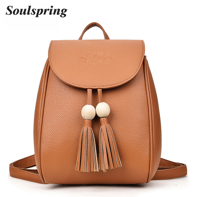 New Tassel Backpacks For Teenage Girls Simple Pu Leather Backpack Women School Bags Small Letter Female Backpack Embossing 2017