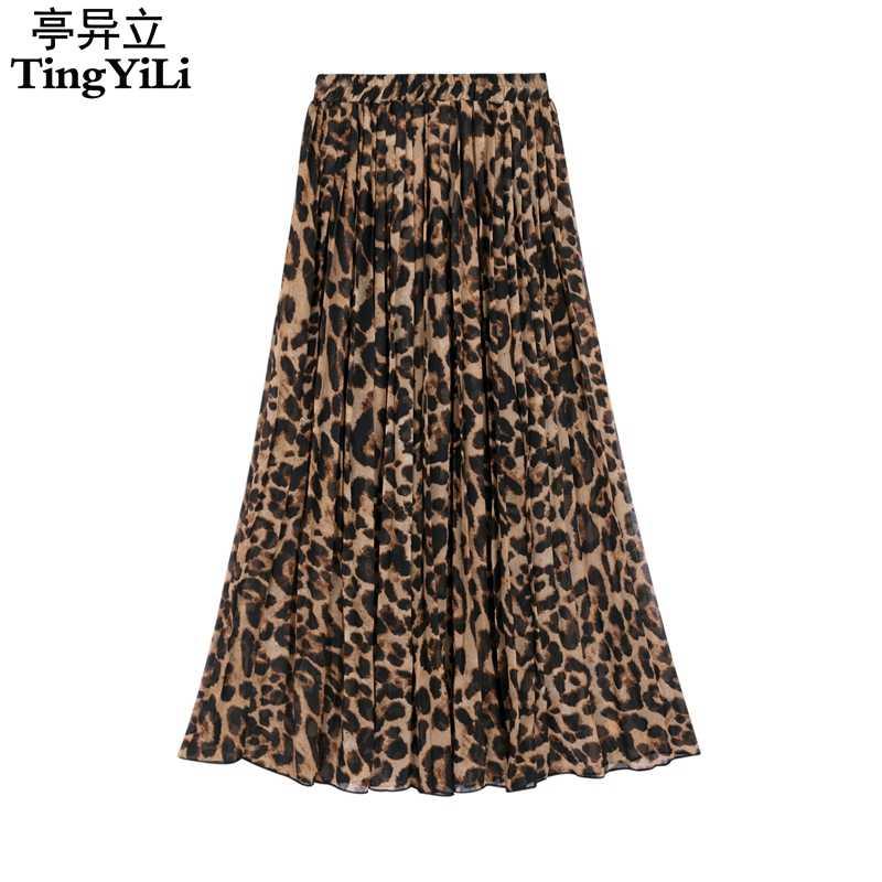 1772257f07da4e TingYiLi Summer Women Long Leopard Print Skirt Elastic High Waist Chiffon  Pleated Slim Fit Casual Maxi