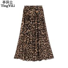 dd8b120a62d0c9 TingYiLi Zomer Vrouwen Lange Leopard Print Rok Elastische Hoge Taille  Chiffon Plisse Slim Fit Casual Maxi Rok